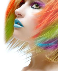 ♥ rainbow hair blue green orange blue purple hair with bold ice blue lipstick Et Tattoo, Tattoos, Blue Lipstick, Lipstick Colors, Foto Fashion, Photo Portrait, Coloured Hair, Funky Hairstyles, Short Hairstyle