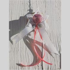 Embroidery star with pink glitter apple - christmastree ornaments