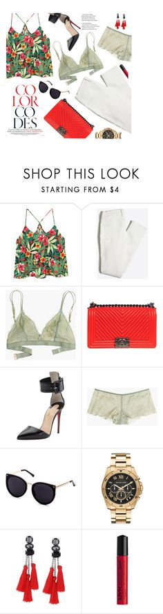 """""""caliente"""" by virginia-laurie ❤ liked on Polyvore featuring MANGO, Madewell, Chanel, Christian Louboutin, Michael Kors and NYX"""