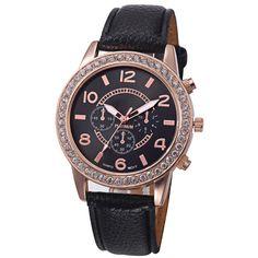 Fashion Women's Geneva Watches Stainless Steel Analog Leather Quartz Wrist Watch Fashion Brand  Quartz-Watch Clock Hours