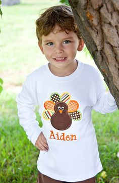 Boys Monogrammed Turkey Shirt-Personalized Applique Turkey Thanksgiving Shirt. $23.00, via Etsy.