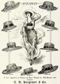 A lovely illustrated ad for A. D. Burgesser Panama Hats, 1913. vintage Edwardian hats ads