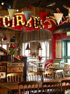 Circus inspired restaurant.  Junibacken. Sanna & Sania