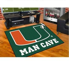 Customize any room in your house or office and show your team pride with this University of Miami Man Cave All-Star by Fanmats. Put this mat in any room in your home to let your loved ones and guest know your team is not to be reckoned with. Man Cave Diy, Man Cave Home Bar, Man Cave Basement, Man Cave Garage, Basement Bathroom, Country Man Cave, Small Mini Fridge, Small Cooler, Ultimate Man Cave