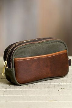 Heritage Canvas and American Bison Leather Travel Kit Leather Luggage, Leather Wallet, Leather Bag, Best Wallet, Travel Kits, Toiletry Bag, Leather Design, Leather Accessories, Small Bags
