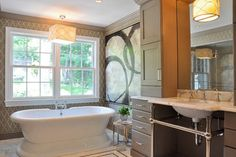 Chic Transitional bath with vessel tub - Side note:  many US building codes will not allow a hanging electrical fixture above the tub...