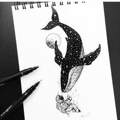 "2,531 Me gusta, 13 comentarios - Black Work Art Appreciation (@blackworkillustrations) en Instagram: ""'Meet' - awesome drawing by @monlee1213  #whale #astronaut #astronomy #stars #meet #meeting"""