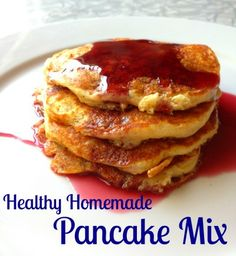 healthy homemade pancakes mix--whole wheat, oat, and wheat flour