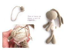 conejito amigurumi crochet 7 Peluche de crochet Conejita de orejas largas   AMIGURUMI