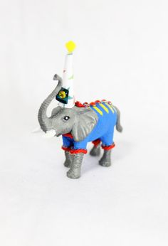 Cupcake topper, or cake topper...Mini Party Animal Walt The Elephant  painted by PaintedParade, $5.50