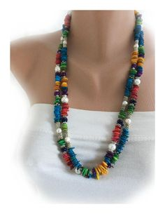 2 Strands Colorful Chip Coral Necklace with Freshwater Pearls