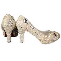 VELCANS PEARL AND RHINESTONE CRYSTAL WEDDING SHOES FOR BRIDAL,BRIDESMAID,PROMS SPECIAL OCCASION SHOES (9.5 B(M) US, HIGH HEEL:3.7 OF BEIGE) - Click image twice for more info - See a larger selection of bridal shoes at   http://zweddingsupply.com/product-category/bridal-shoes/ - woman , wedding , wedding fashion, wedding style, wedding ideas, woman fashion, shoes.