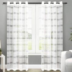 Horizontal Stripe Grommet Curtains