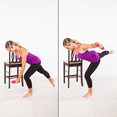 Barre Workout: Rear Fly and Arabesque Lift - Home Workout Plan: 7 Ballet-Inspired Moves for Long, Lean Muscles - Shape Magazine Barre Exercises At Home, At Home Workouts, Barre Workouts, Butt Workouts, Workout Tips, Pilates Workout, Workout Challenge, Yoga, Fitness Tips