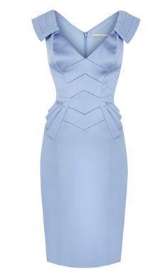 sky-blue satin peplum dress