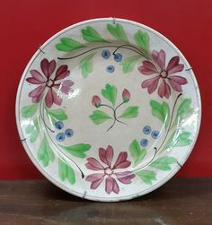 Rare vintage 8 3/4 diameter STICK SPATTERWARE PLATE MADE IN HOLLAND .