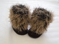 High leg booties snow boots fur trim baby shower by JaminaRose, $21.00