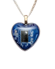 Genuine Blue Circuit Board Set in Water Clear Resin. Hand Made in Cornwall, UK. Circuit Board, Epoxy, Cyberpunk, Dog Tag Necklace, Resin, Goodies, Pendant Necklace, Jewellery, Heart