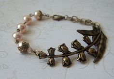 Lily Branch Bracelet / Crystal Peach Pearls / Brass Bracelet / Victorian Style Bracelet / Bridesmaid Jewelry on Etsy, $24.00