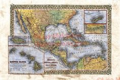 """Mitchel's Map of Mexico, Central America, and the West Indies [Insets of Bermuda, Sandwich Islands, Jamaica and Panama Railroad]     Produced in Philadelphia in the year 1878, this is a hand colored map by renowned cartographer Samuel Augustus Mitchell Junior. This """"Map of Mexico, Central America, and the West Indies [Insets of Bermuda, Sandwich Islands, Jamaica and Panama Railroad]"""",  was created to celebrate the 100th anniversary of Hawaii's discovery. West Indies, Central America, Hand Coloring, I Shop, Vintage World Maps, Mexico, My Arts, Hand Painted, Jamaica"""