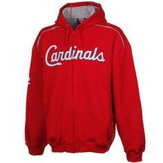 Stitches St. Louis Cardinals Thermal Sherpa Full Zip Hoodie Sweatshirt - Red