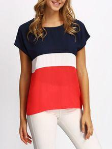 T-shirt décontracté manche courte -multicolore