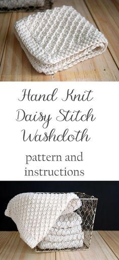 Hand Knit Daisy Stitch Washcloth Pattern