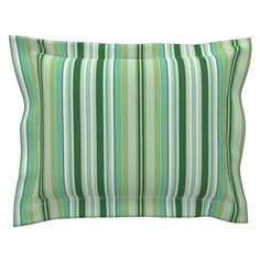 Sebright Pillow Sham with Flanged Detail featuring Beach Cabana Stripe 6 by fleamarkettrixie Pillow Shams, Pillows, Beach Cabana, Striped Bedding, Bed Design, Duvet Covers, Pattern, Color, Inspiration