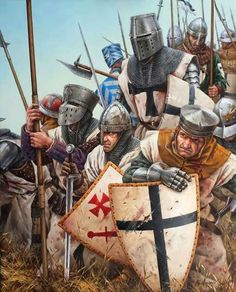 Crusaders and men at arms Medieval World, Medieval Knight, Medieval Armor, Medieval Fantasy, Crusader Knight, Armadura Medieval, Knight Art, Knights Templar, Military Art
