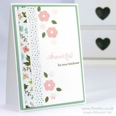 Stampin' Up! Demonstrator Pootles – Pretty Floral Card using Endless Thanks & Birthday Bouquet DSP