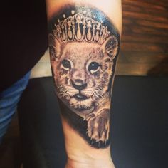 My Leo tattoo it's a lioness cub wearing a tiara to represent my daughter Lioness And Cub Tattoo, Lion Cub Tattoo, Lion Tattoo With Crown, Cubs Tattoo, Mens Lion Tattoo, Leo Tattoos, Baby Tattoos, Girly Tattoos, Tattoos For Kids