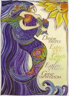 Laurel Burch mermaid, purple fish, and sun Dream Deeply - Beautiful
