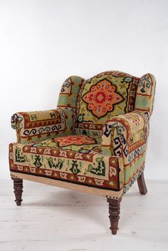 Crewel Embroidered Maharaja Chair