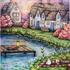 Romantic Country Coloring Book...by @cherrycolours                              …