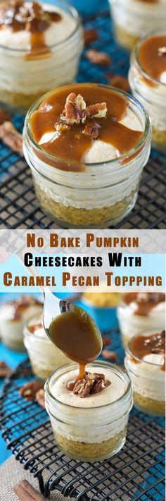 No Bake Pumpkin Cheesecake is a creamy pumpkin flavored mousse over sweetened graham cracker crust and finished with a nutty, caramel drizzle!