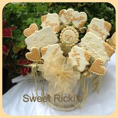 Sweet Ricki's - The Cookie Parade, Cookie Bouquet, Anniversary Cookies, Anniversary 50th Anniversary Cookies, 50th Wedding Anniversary, Anniversary Ideas, Anniversary Parties, Cupcake Cookies, Sugar Cookies, Cupcakes, Cookie Bouquet, No Bake Treats