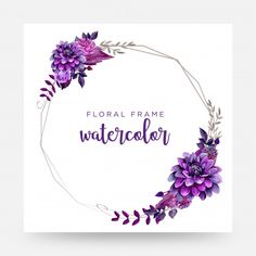 Vector Floral Wreath Watercolor, Watercolor Succulents, Floral Embroidery Patterns, Purple Themes, Purple Wedding Invitations, Instagram Frame, Alphabet Art, Frame Template, Background Patterns