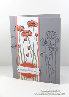 Krafting Kreations: Birthday Poppies express yourself label love Paper smoky slate crisp cantaloupe whisper white Ink stazon crisp cantaloupe smoky slate Markers calypso coral crisp cantaloupe pear pizzaz  artisan label punch modern label punch