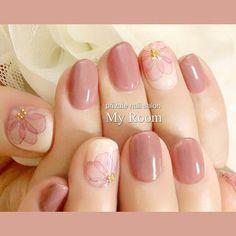 たらしこみフラワーネイル。くすみ系ローズピンクで落ち着いた雰囲気です。#nailart #nails #ネイルアート #ジェルネイル #ネイル #プライベートネイルサロンマイルーム...|ネイルデザインを探すならネイル数No.1のネイルブック
