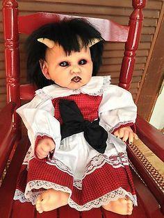 "OOAK Goth Reborn Berenguer Hand Painted 16"" Demon Babies Horror Doll Horns Girl | eBay"