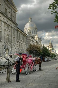 This is the historic Old Port of Montreal, Canada. Make sure you take the horse drawn carriage ride. We learned so much about the Old Port from the driver. Quebec Montreal, Old Montreal, Montreal Ville, Quebec City, O Canada, Canada Travel, Visit Canada, Ottawa, Torre Cn