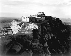 Walpi and First Mesa, Arizona, Walpi is a Hopi village established around 900 AD. It is located east of the Grand Canyon in Navajo County, northern Arizona. Photo by Ansel Adams. Ansel Adams Photography, White Photography, Black And White Landscape, Native American Art, American Indians, American History, Landscape Photographers, National Parks, Turkey