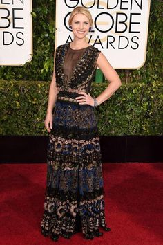 claire danes in valentino at the 2015 #goldenglobes