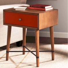 Vintage Side Table Wooden Small Coffee End  Lamp Stand Drawer Retro Furniture