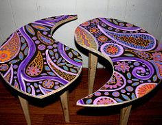 Yin Yang Coffee Table for Aimee in Miami (Rick Cheadle Art and Designs) Tags: tree art table furniture funky dresser decor paisley homedecor paisleydesign rickcheadle anniesloanchalkpaint sugarskullpeacesign shabbyfrench