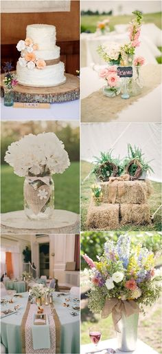 burlap country rustic wedding decor ideas / http://www.deerpearlflowers.com/rustic-wedding-ideas-with-burlap-touches/2/