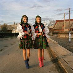 Transylvanian women in traditional garb.