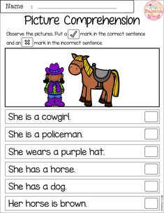 Free Picture Comprehension Cards and Worksheets Picture Comprehension, Reading Comprehension Worksheets, Reading Resources, Reading Strategies, Reading Skills, Teaching Reading, Reading Test, English Activities, Learning Activities