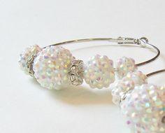 White Rhinestone Beaded Hoop Earrings by StrictlyCute on Etsy, $18.50