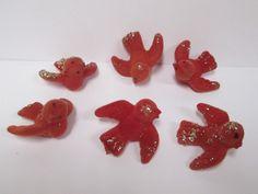 Vintage Red Flocked Birds Glitter Miniatures Crafts by retrogal415
